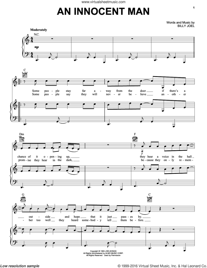 An Innocent Man sheet music for voice, piano or guitar by Billy Joel and David Rosenthal, intermediate skill level