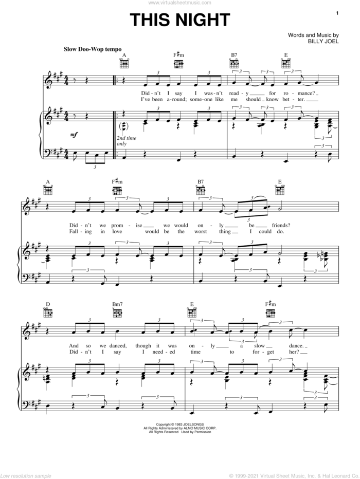This Night sheet music for voice, piano or guitar by Billy Joel and David Rosenthal, intermediate skill level