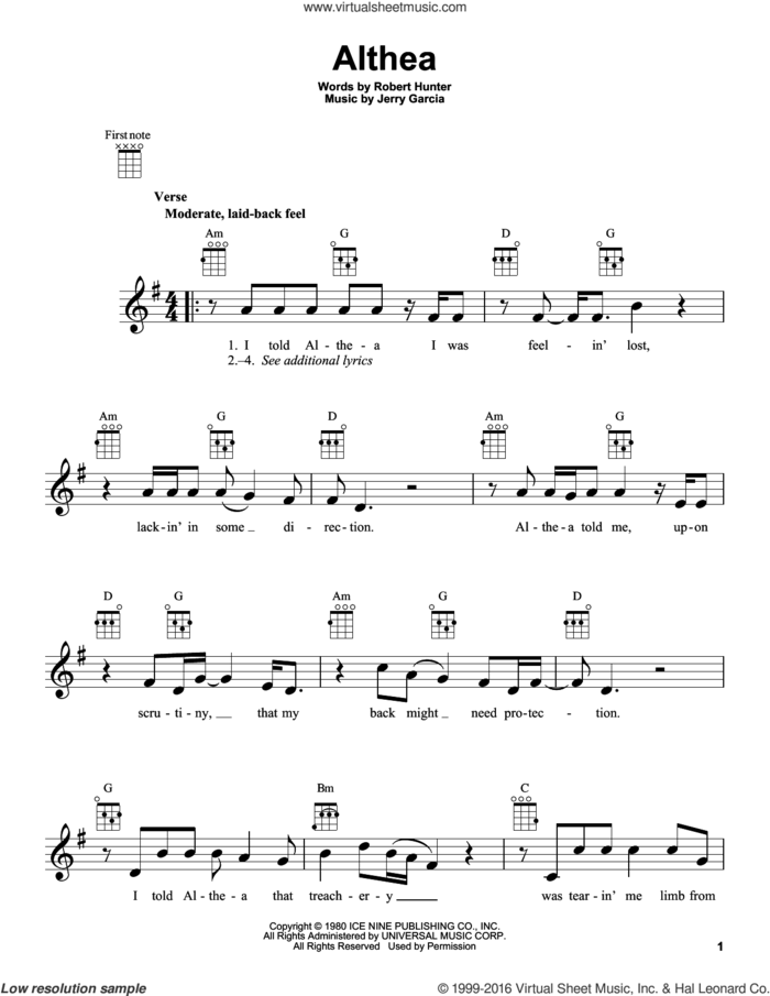 Althea sheet music for ukulele by Grateful Dead, Jerry Garcia and Robert Hunter, intermediate skill level