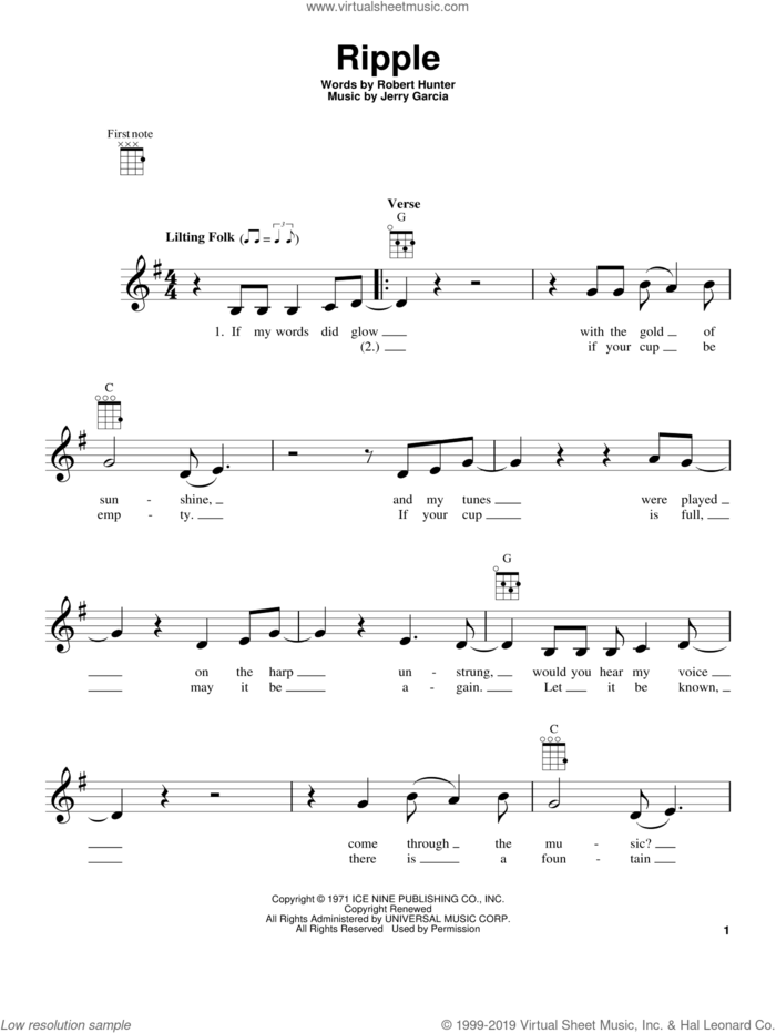 Ripple sheet music for ukulele by Grateful Dead, Jerry Garcia and Robert Hunter, intermediate skill level