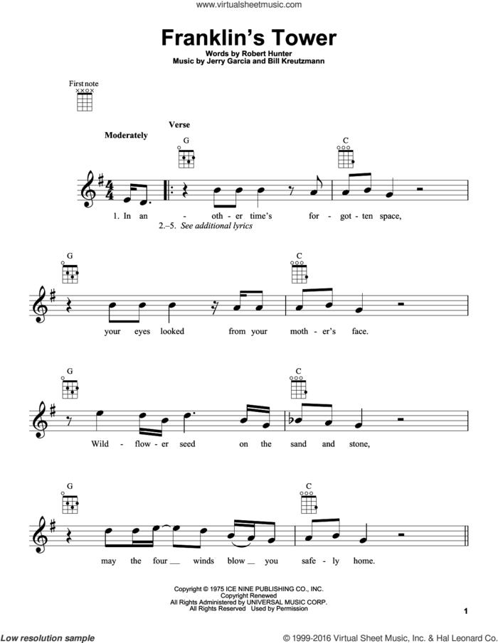 Franklin's Tower sheet music for ukulele by Grateful Dead, Bill Kreutzmann, Jerry Garcia and Robert Hunter, intermediate skill level