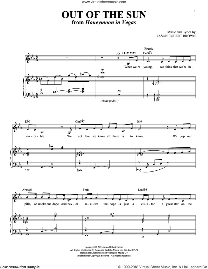 Out Of The Sun (from Honeymoon in Vegas) sheet music for voice and piano by Jason Robert Brown and Richard Walters, intermediate skill level