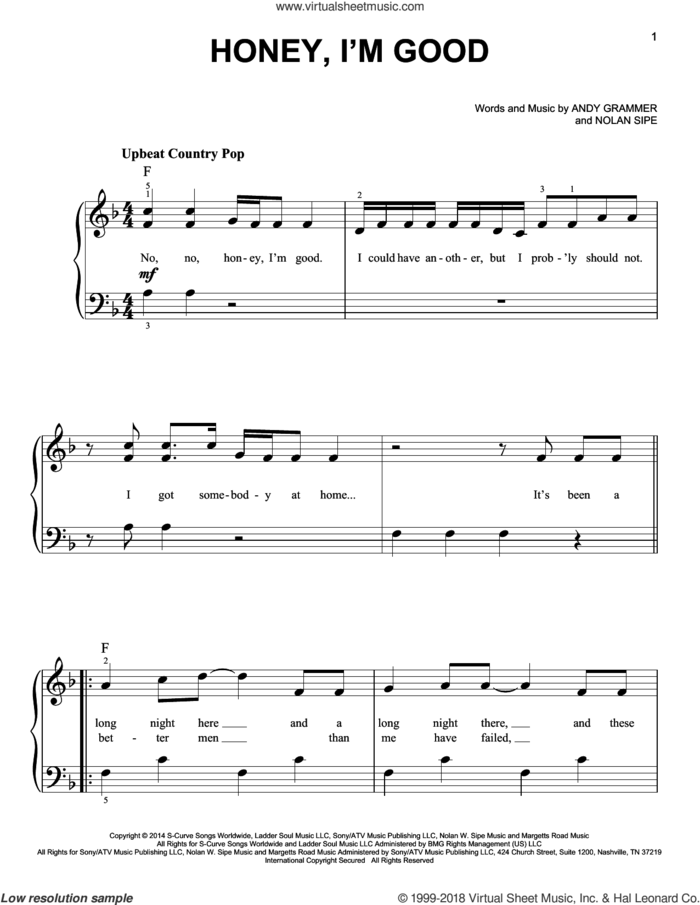 Honey, I'm Good sheet music for piano solo by Andy Grammer and Nolan Sipe, beginner skill level