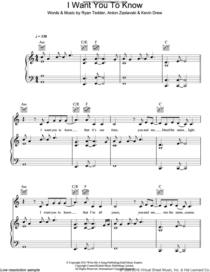 I Want You To Know (featuring Selena Gomez) sheet music for voice, piano or guitar by Zedd, Selena Gomez, Zedd feat. Selena Gomez, Anton Zaslavski, Kevin Drew and Ryan Tedder, intermediate skill level