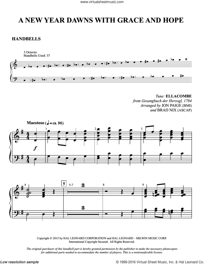 A New Year Dawns with Grace and Hope sheet music for orchestra/band (handbells) by Jon Paige, Brad Nix, Samuel S. Wesley, Gesangbuch der Herzogl and Jonathan Martin, intermediate skill level