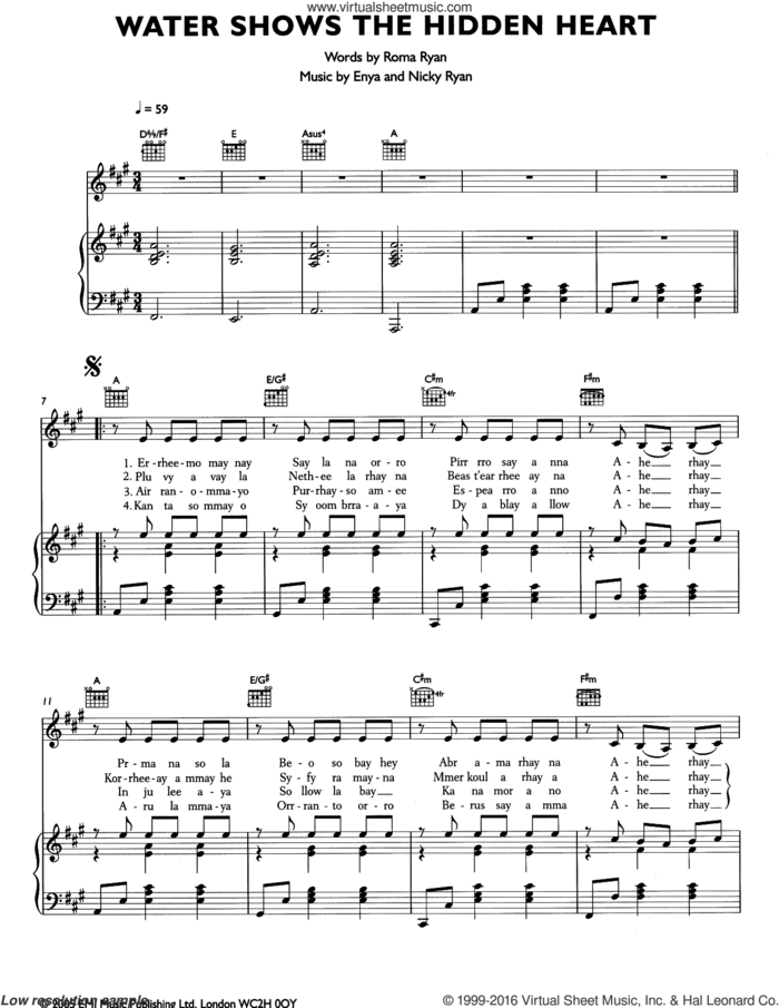 Water Shows The Hidden Heart sheet music for voice, piano or guitar by Enya, Nicky Ryan and Roma Ryan, intermediate skill level