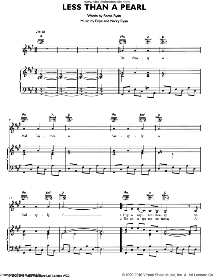 Less Than A Pearl sheet music for voice, piano or guitar by Enya, Nicky Ryan and Roma Ryan, intermediate skill level