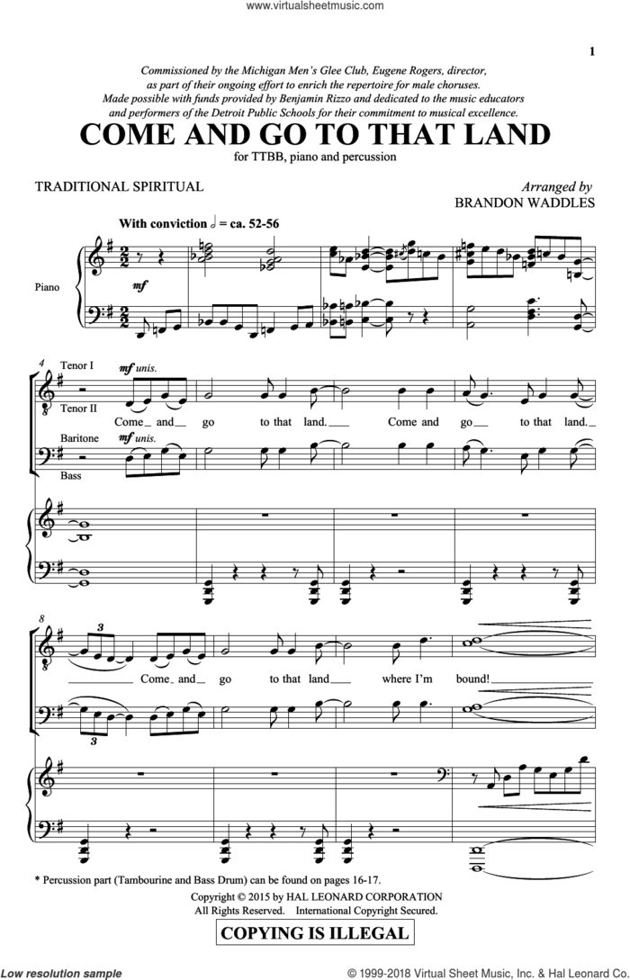 Come And Go To That Land sheet music for choir (TTBB: tenor, bass) by Brandon Waddles and Miscellaneous, intermediate skill level
