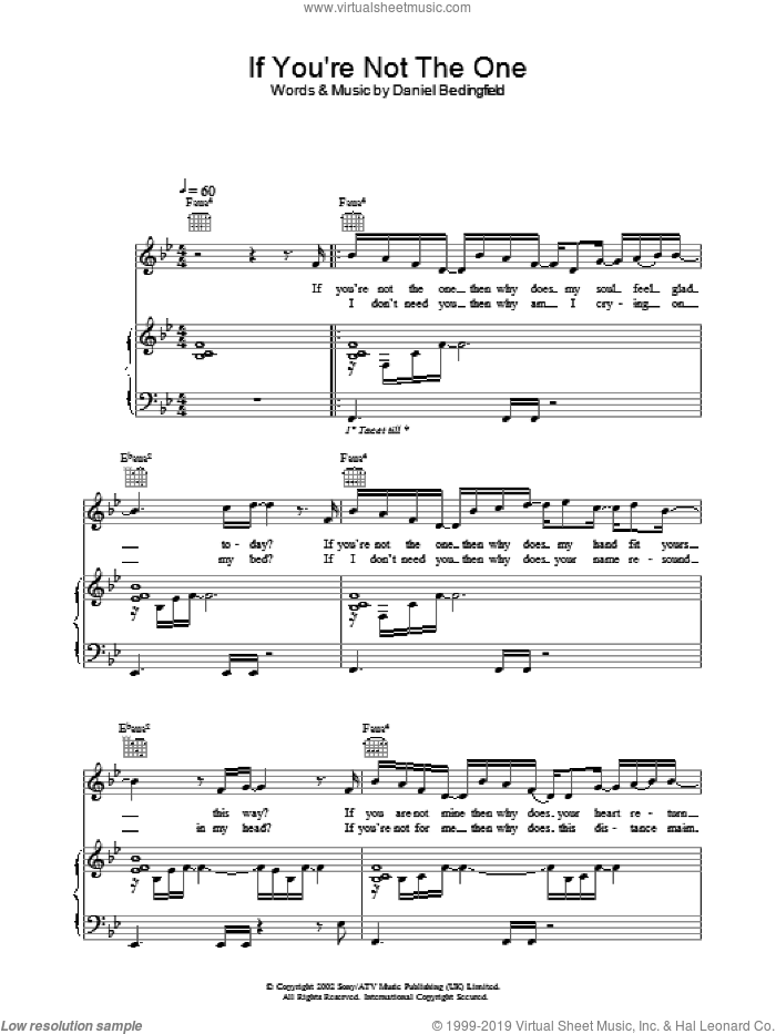 If You're Not The One sheet music for voice, piano or guitar by Daniel Bedingfield, intermediate skill level