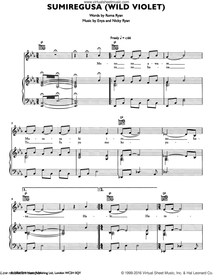 Semiregusa (Wild Violet) sheet music for voice, piano or guitar by Enya, Nicky Ryan and Roma Ryan, intermediate skill level