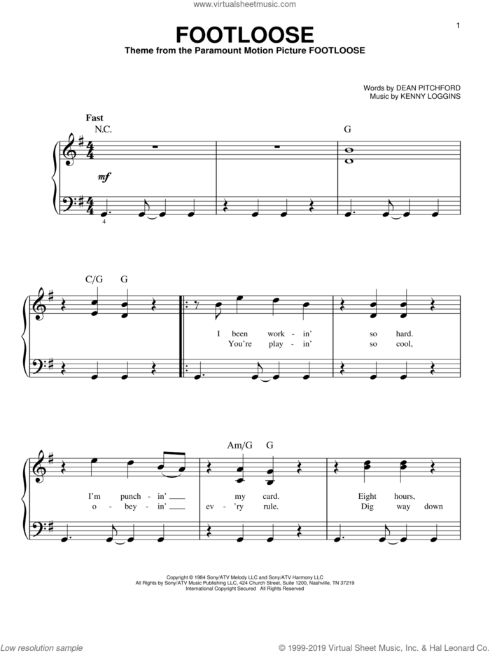 Footloose sheet music for piano solo by Kenny Loggins and Dean Pitchford, beginner skill level