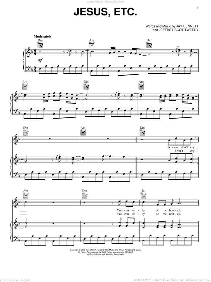 Jesus, Etc... sheet music for voice, piano or guitar by Wilco, Jay Bennett and Jeffrey Scot Tweedy, intermediate skill level