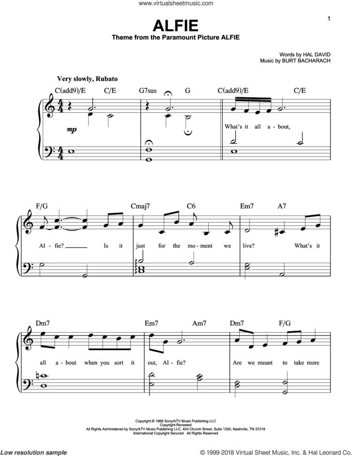 Alfie sheet music for piano solo by Bacharach & David, Cher, Dionne Warwick, Sonny Rollins, Stevie Wonder, Burt Bacharach and Hal David, beginner skill level