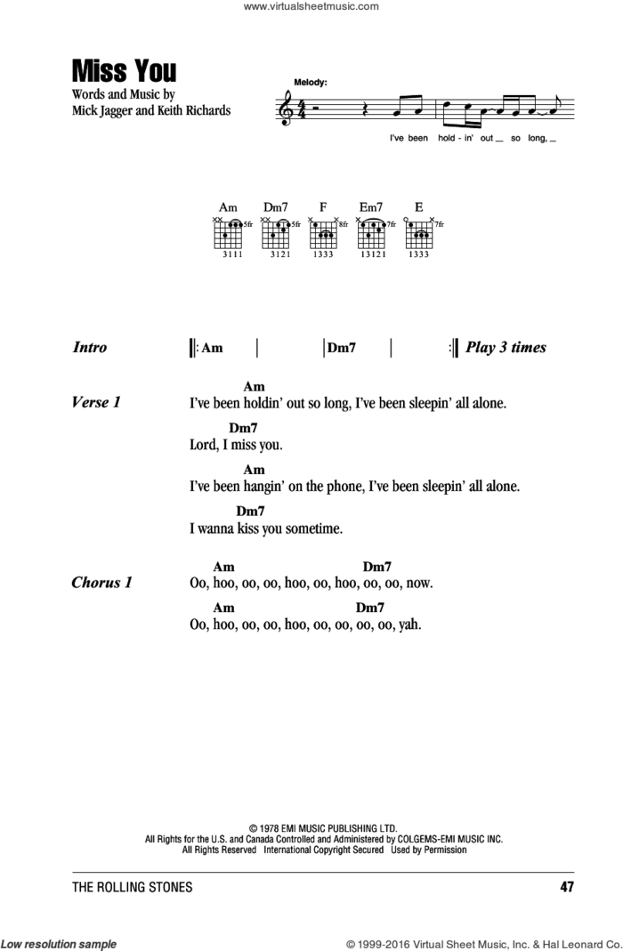Miss You sheet music for guitar (chords) by The Rolling Stones, Keith Richards and Mick Jagger, intermediate skill level