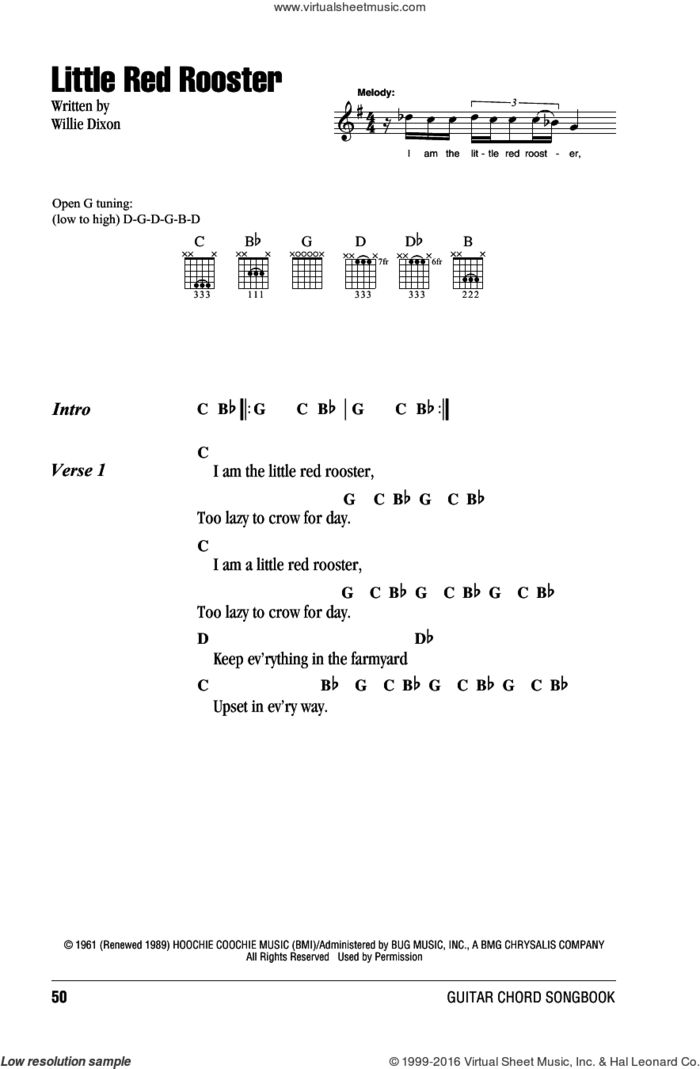 Little Red Rooster sheet music for guitar (chords) by The Rolling Stones, Sam Cooke and Willie Dixon, intermediate skill level