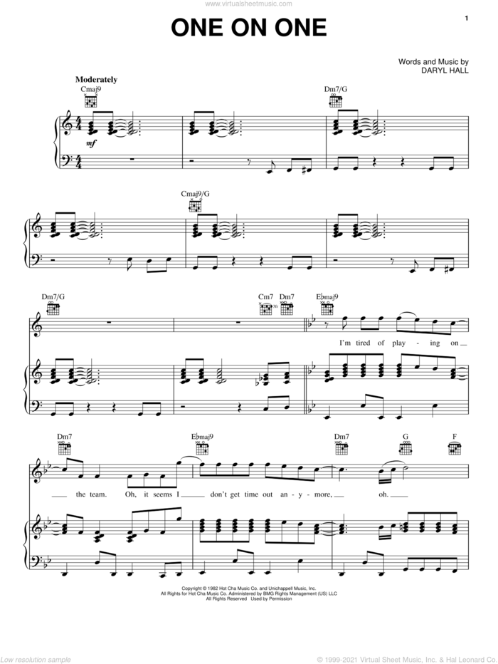 One On One sheet music for voice, piano or guitar by Hall and Oates and Daryl Hall & John Oates, John Oates and Daryl Hall, intermediate skill level