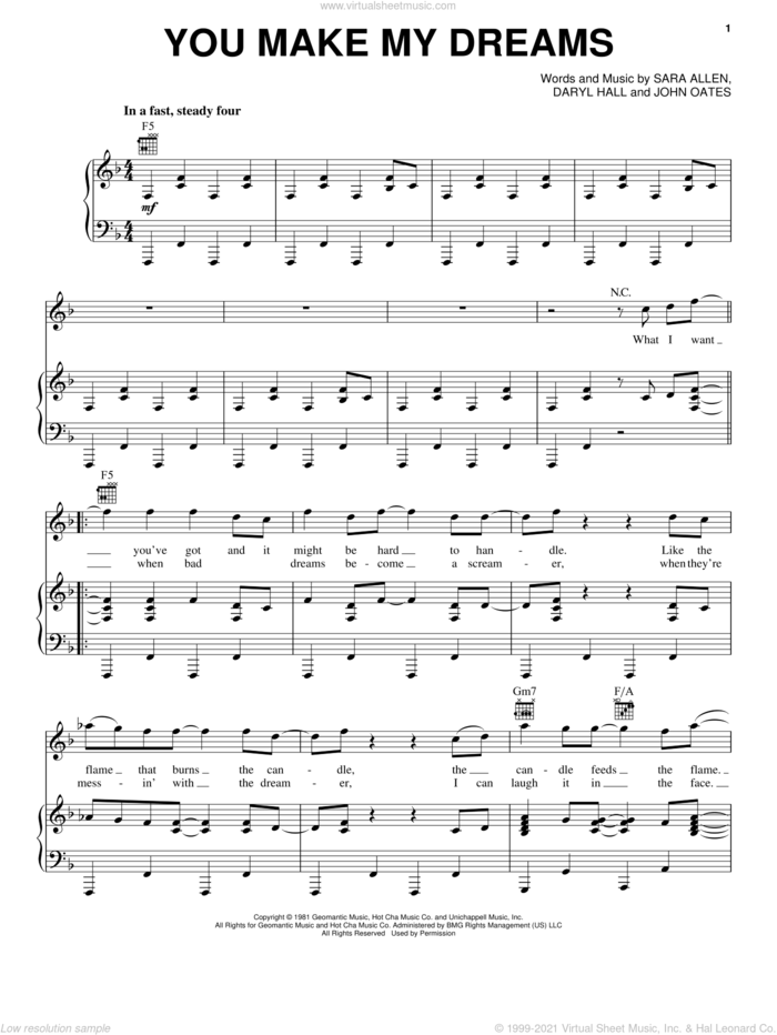 You Make My Dreams sheet music for voice, piano or guitar by Hall and Oates, Daryl Hall & John Oates, Daryl Hall, John Oates and Sara Allen, intermediate skill level