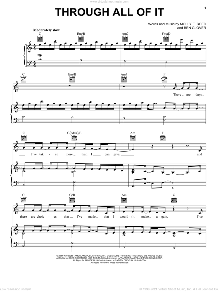 Through All Of It sheet music for voice, piano or guitar by Colton Dixon, Ben Glover and Molly E. Reed, intermediate skill level