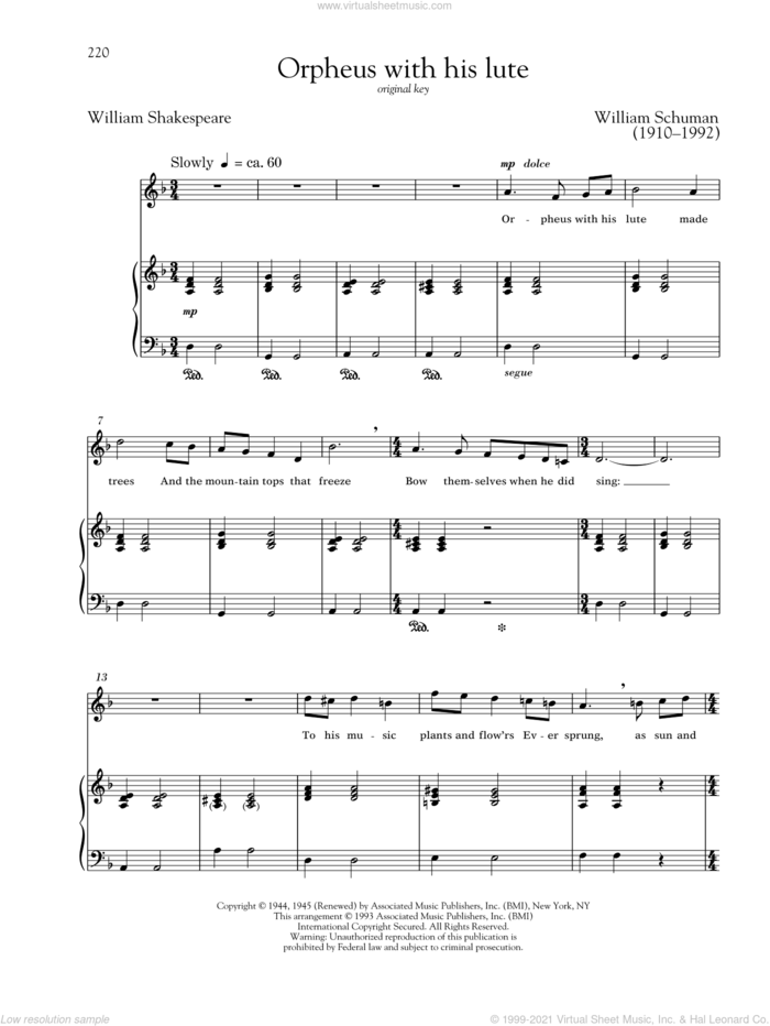 Orpheus With His Lute sheet music for voice and piano (High Voice) by William Schuman, Richard Walters and William Shakespeare, classical score, intermediate skill level
