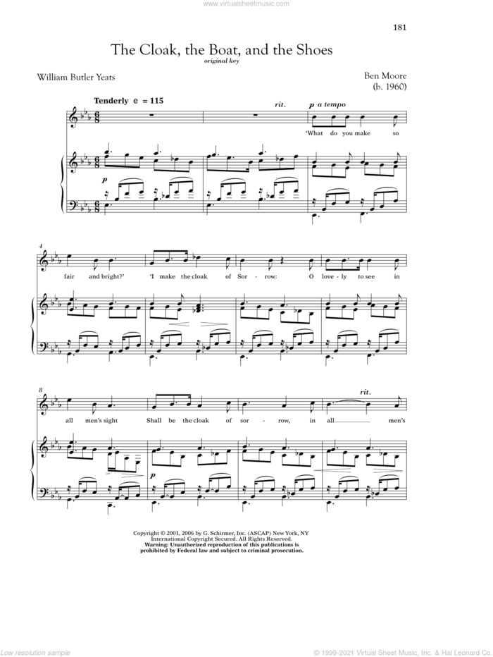 The Cloak, The Boat, And The Shoes sheet music for voice and piano (High Voice) by William Butler Yeats, Richard Walters and Ben Moore, classical score, intermediate skill level