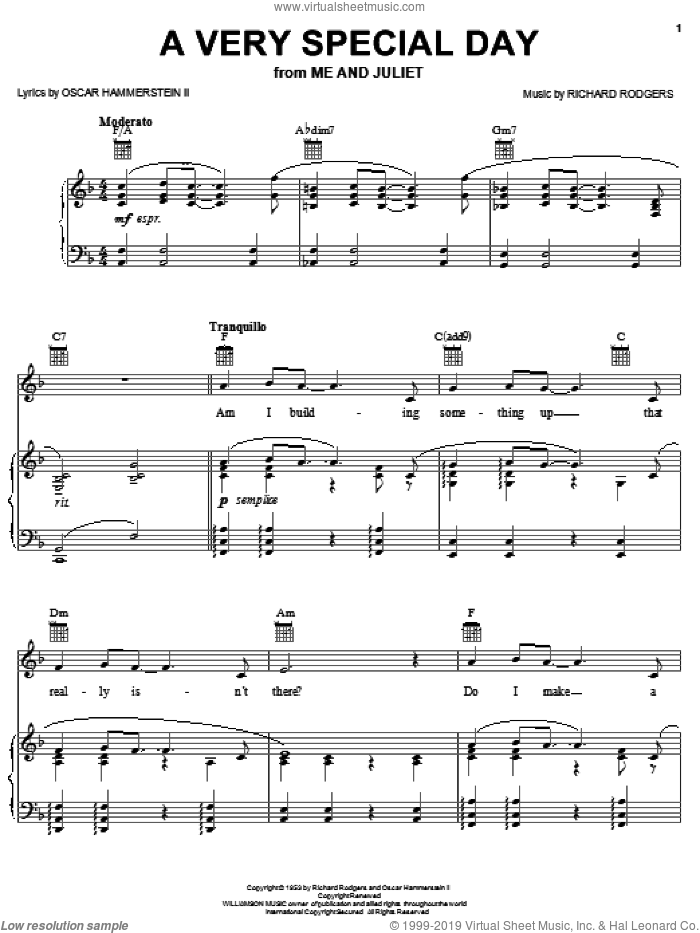 A Very Special Day sheet music for voice, piano or guitar by Rodgers & Hammerstein, Me And Juliet (Musical), Oscar II Hammerstein and Richard Rodgers, intermediate skill level