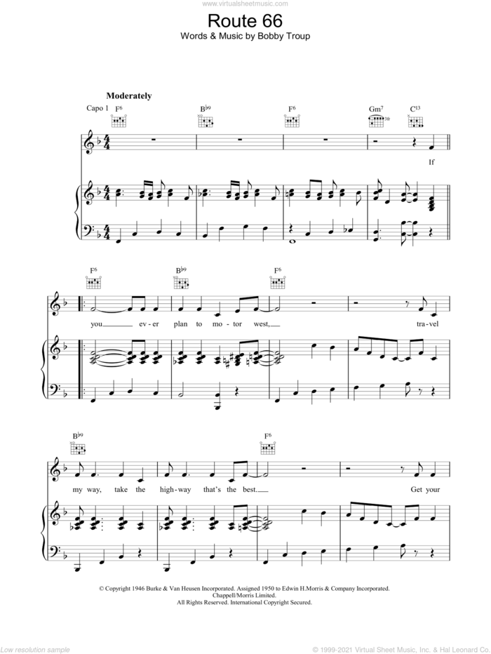 Route 66 sheet music for voice, piano or guitar by Bobby Troup, intermediate skill level