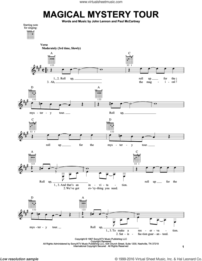 Magical Mystery Tour sheet music for guitar solo (chords) by The Beatles, John Lennon and Paul McCartney, easy guitar (chords)