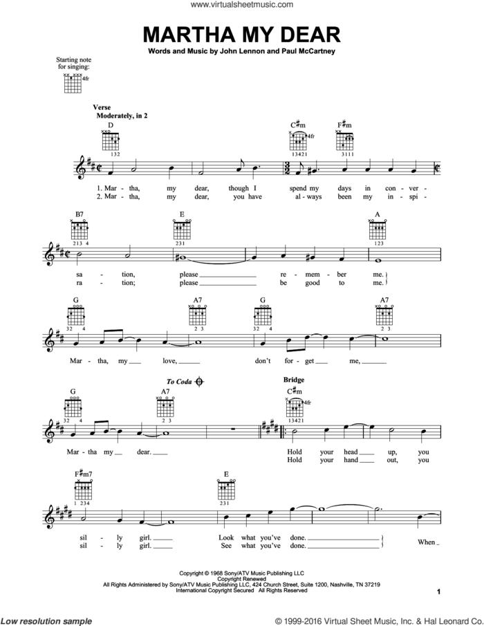 Martha My Dear sheet music for guitar solo (chords) by The Beatles, John Lennon and Paul McCartney, easy guitar (chords)