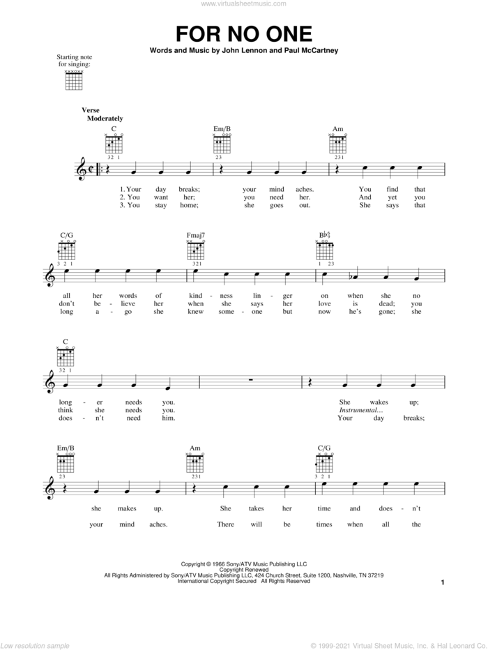 For No One sheet music for guitar solo (chords) by The Beatles, John Lennon and Paul McCartney, easy guitar (chords)