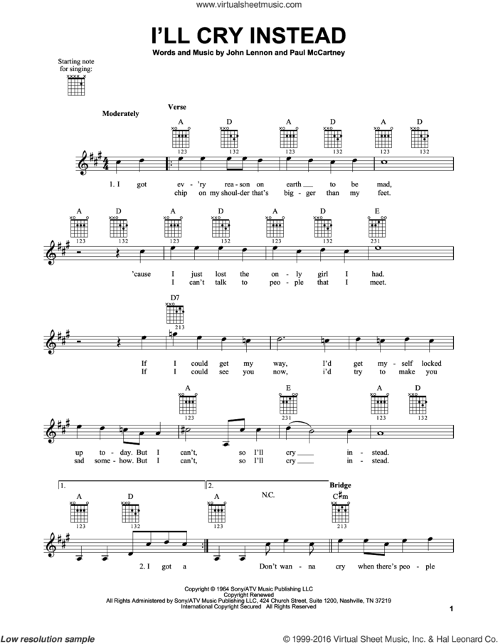 I'll Cry Instead sheet music for guitar solo (chords) by The Beatles, John Lennon and Paul McCartney, easy guitar (chords)