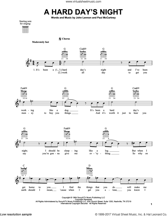 A Hard Day's Night sheet music for guitar solo (chords) by The Beatles, John Lennon and Paul McCartney, easy guitar (chords)