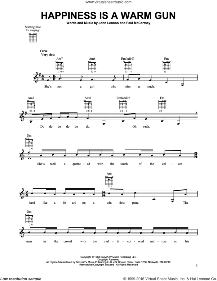 Happiness Is A Warm Gun sheet music for guitar solo (chords) by The Beatles, John Lennon and Paul McCartney, easy guitar (chords)