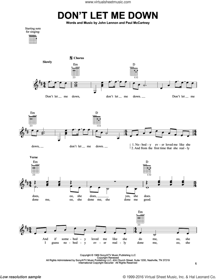 Don't Let Me Down sheet music for guitar solo (chords) by The Beatles, John Lennon and Paul McCartney, easy guitar (chords)
