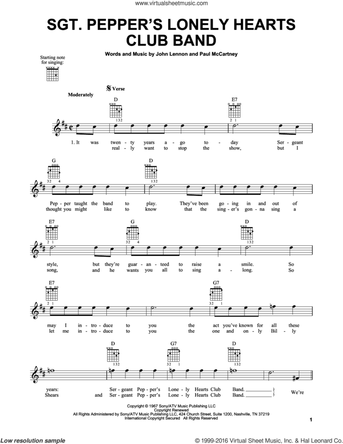 Sgt. Pepper's Lonely Hearts Club Band sheet music for guitar solo (chords) by The Beatles, John Lennon and Paul McCartney, easy guitar (chords)
