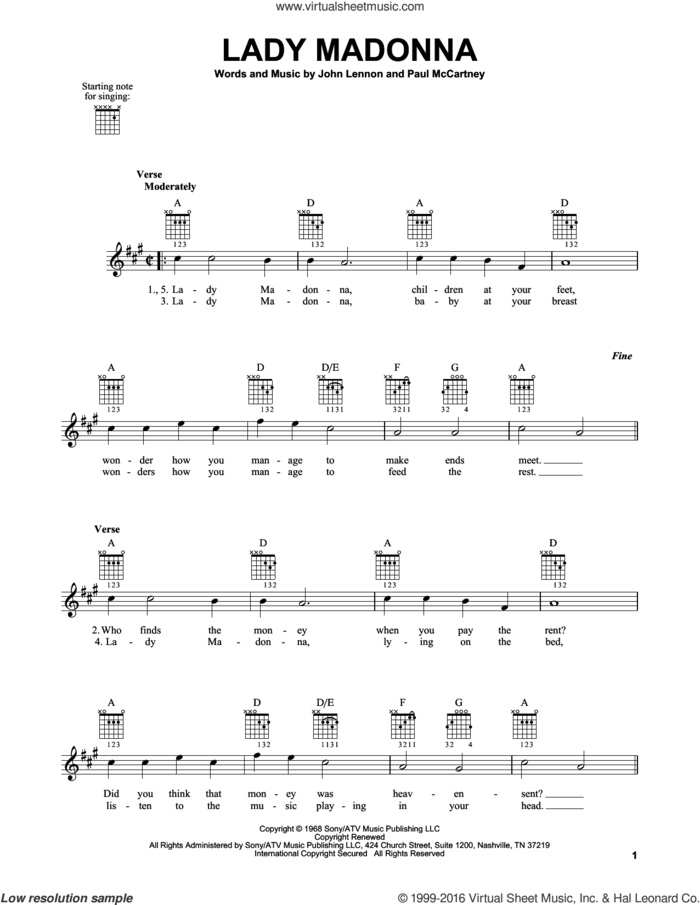 Lady Madonna sheet music for guitar solo (chords) by The Beatles, John Lennon and Paul McCartney, easy guitar (chords)