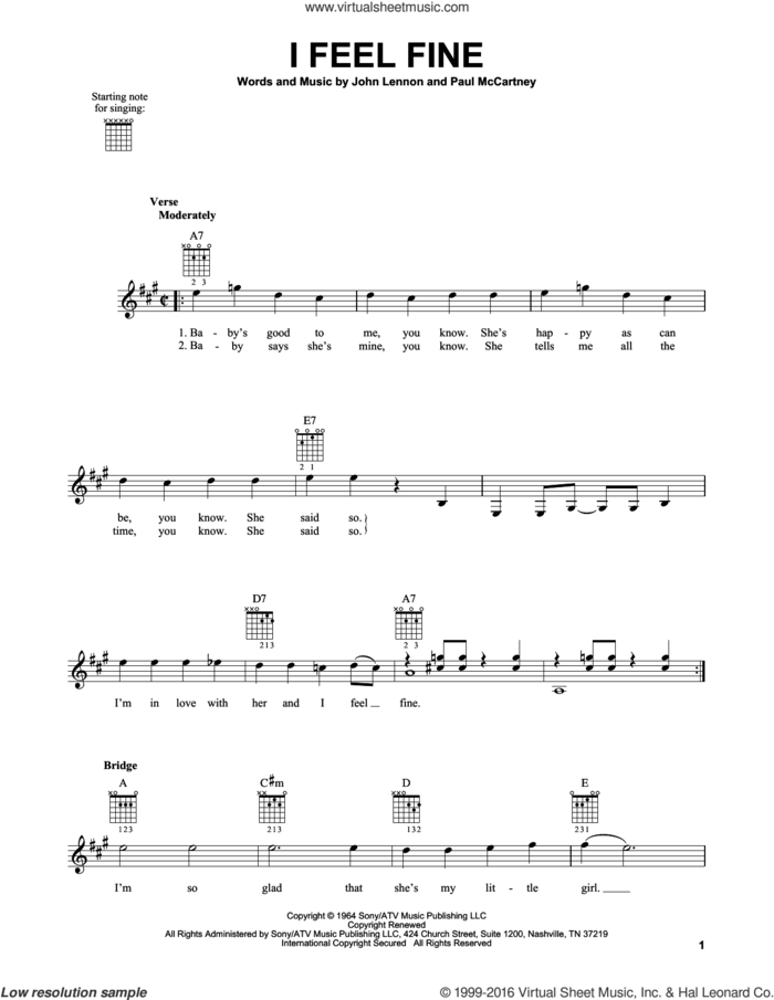 I Feel Fine sheet music for guitar solo (chords) by The Beatles, John Lennon and Paul McCartney, easy guitar (chords)