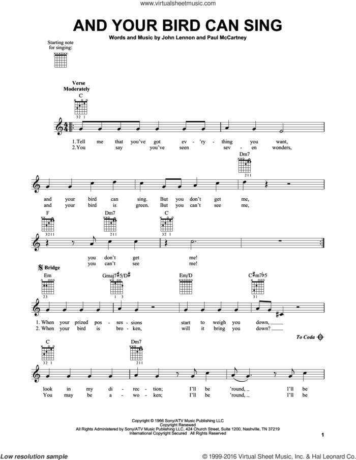 And Your Bird Can Sing sheet music for guitar solo (chords) by The Beatles, John Lennon and Paul McCartney, easy guitar (chords)