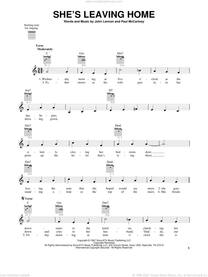 She's Leaving Home sheet music for guitar solo (chords) by The Beatles, John Lennon and Paul McCartney, easy guitar (chords)