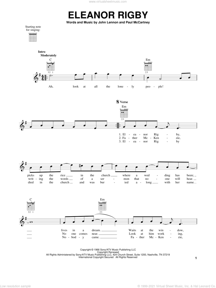 Eleanor Rigby, (easy) sheet music for guitar solo (chords) by The Beatles, David Cook, John Lennon and Paul McCartney, easy guitar (chords)