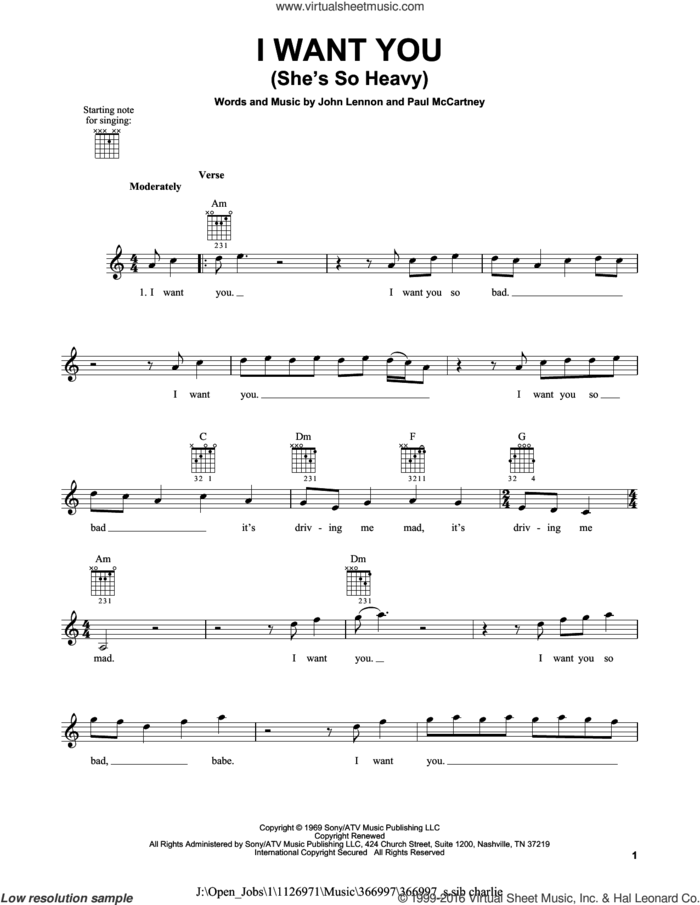 I Want You (She's So Heavy) sheet music for guitar solo (chords) by The Beatles, John Lennon and Paul McCartney, easy guitar (chords)