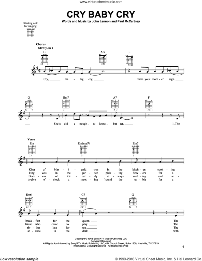 Cry Baby Cry sheet music for guitar solo (chords) by The Beatles, John Lennon and Paul McCartney, easy guitar (chords)