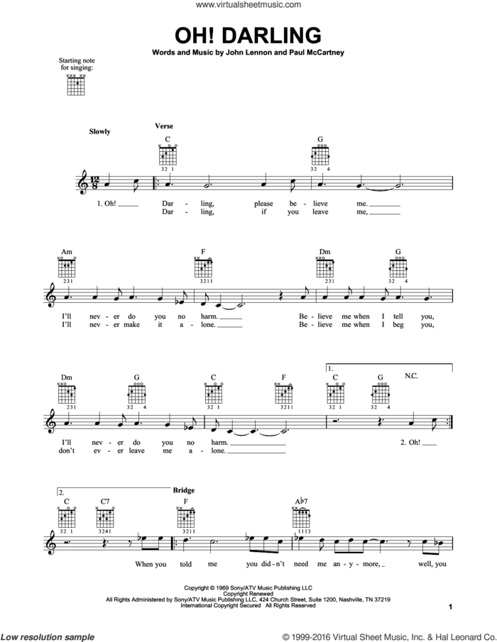 Oh! Darling sheet music for guitar solo (chords) by The Beatles, John Lennon and Paul McCartney, easy guitar (chords)