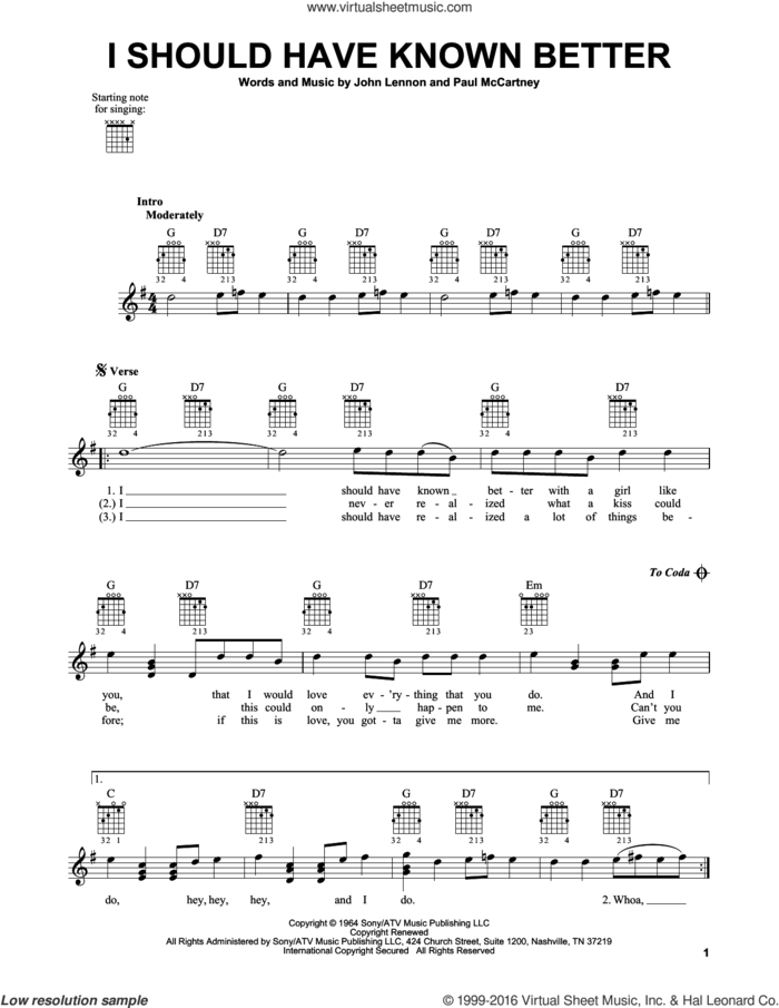 I Should Have Known Better sheet music for guitar solo (chords) by The Beatles, John Lennon and Paul McCartney, easy guitar (chords)