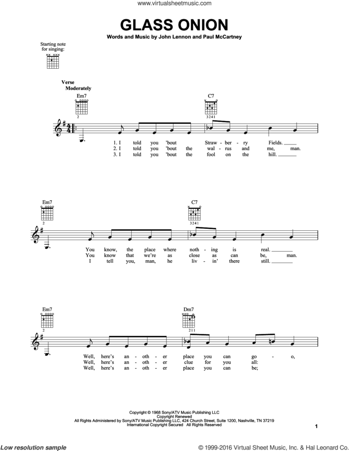 Glass Onion sheet music for guitar solo (chords) by The Beatles, John Lennon and Paul McCartney, easy guitar (chords)