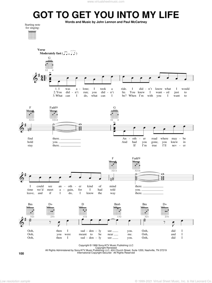 Got To Get You Into My Life sheet music for guitar solo (chords) by The Beatles, Blood, Sweat & Tears, Earth, Wind & Fire, John Lennon and Paul McCartney, easy guitar (chords)