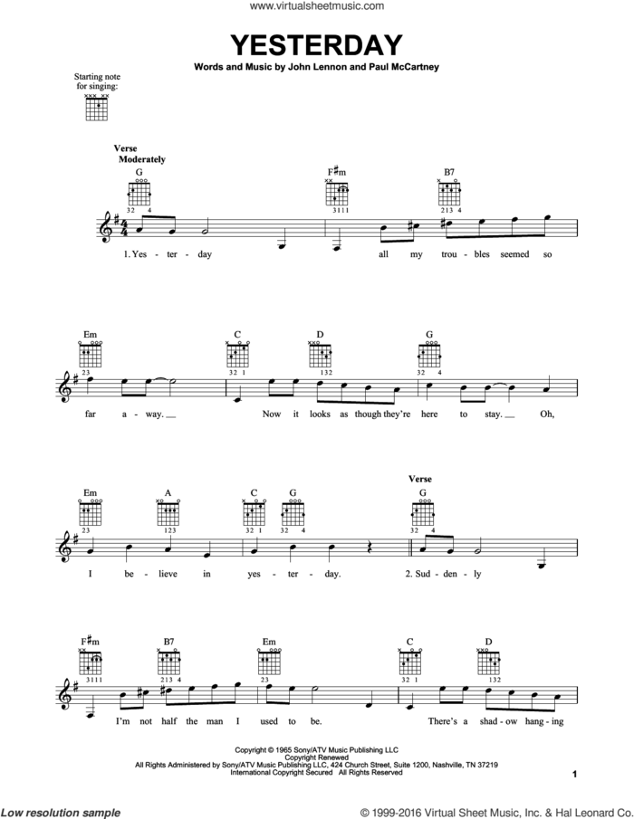 Yesterday sheet music for guitar solo (chords) by The Beatles, John Lennon and Paul McCartney, easy guitar (chords)