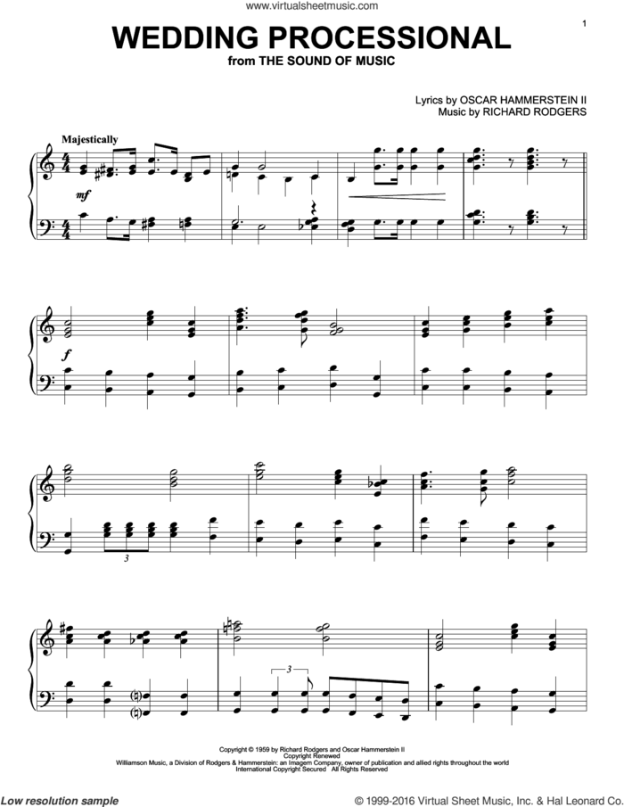 Wedding Processional sheet music for piano solo by Rodgers & Hammerstein, The Sound Of Music (Musical), Oscar II Hammerstein and Richard Rodgers, wedding score, intermediate skill level