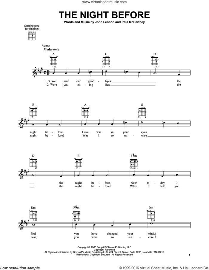 The Night Before sheet music for guitar solo (chords) by The Beatles, John Lennon and Paul McCartney, easy guitar (chords)