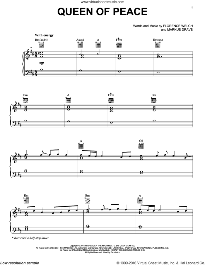 Queen Of Peace sheet music for voice, piano or guitar by Florence And The Machine, Florence Welch and Markus Dravs, intermediate skill level