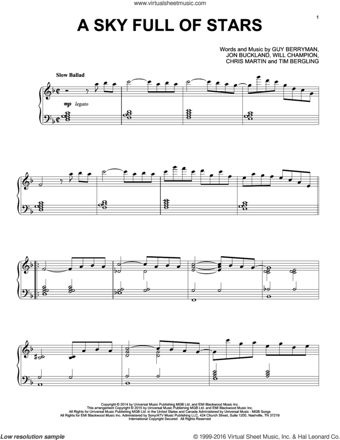 A Sky Full Of Stars [Jazz version] sheet music for piano solo by Coldplay, Chris Martin, Guy Berryman, Jon Buckland, Tim Bergling and Will Champion, intermediate skill level